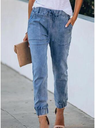 Pockets Shirred midi Casual Solid Sporty Plain Denim & Jeans