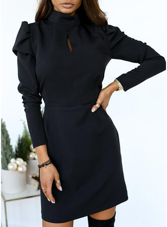 Solid Long Sleeves/Puff Sleeves Sheath Above Knee Little Black/Elegant Dresses