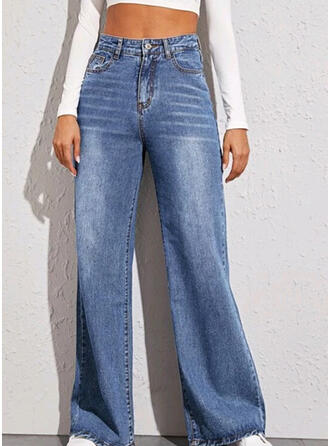 Shirred Long Casual Plain Denim & Jeans