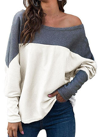 Color Block One-Shoulder Long Sleeves Casual Blouses