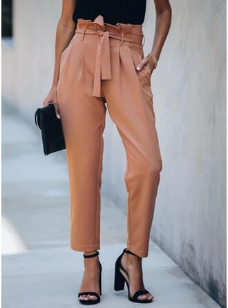 Pockets Shirred Long Elegant Sexy Solid Plain Pants