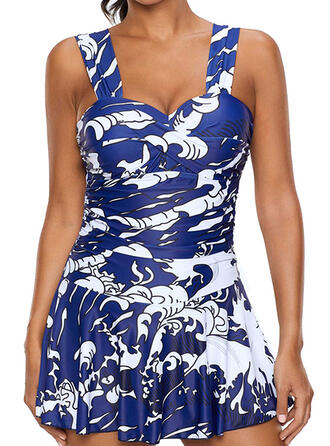 Print Splice color Push Up Strap V-Neck Sexy Fresh Swimdresses Swimsuits