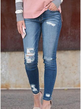 Pockets Shirred Plus Size Long Sexy Long Jacquard Denim Pants Denim & Jeans