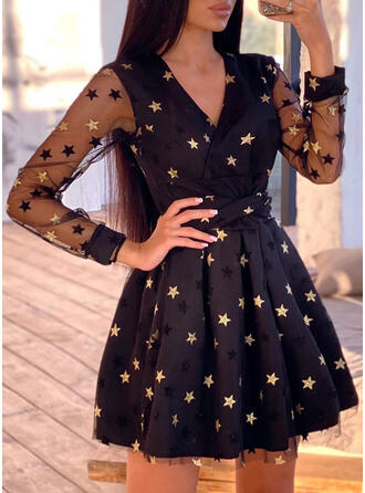 Print Long Sleeves A-line Above Knee Party Skater Dresses