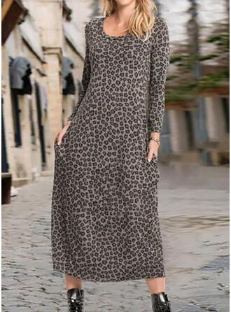 Leopard Long Sleeves Shift Tunic Casual Midi Dresses