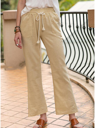 Solid Shirred Drawstring Long Casual Plain Pants