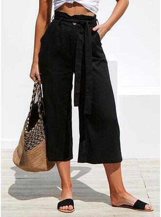 Pockets Shirred Long Elegant Solid Plain Pants