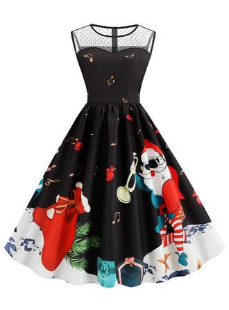 Print Sleeveless A-line Knee Length Vintage/Christmas/Party/Elegant Dresses