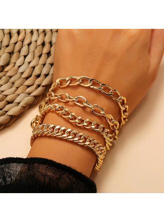 Vintage Link & Chain Layered Alloy Bracelets (Set of 4)