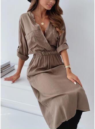 Solid Long Sleeves Sheath Casual Midi Dresses