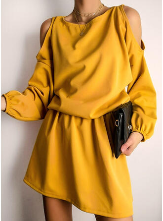 Solid Long Sleeves/Cold Shoulder Sleeve A-line Above Knee Little Black/Casual Skater Dresses