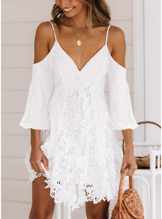 Lace/Solid Long Sleeves/Cold Shoulder Sleeve Shift Above Knee Sexy/Casual/Vacation Dresses