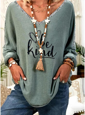 Print Sequins Figure Heart V-Neck Long Sleeves Casual T-shirts
