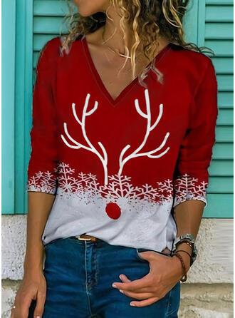 Print V-Neck Long Sleeves Casual Christmas Blouses