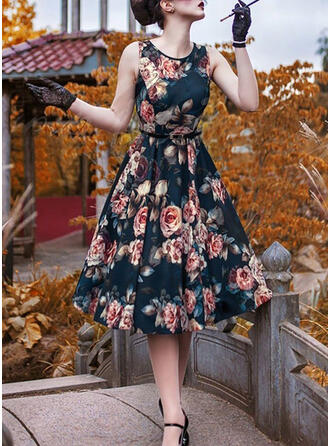 Print/Floral Sleeveless A-line Vintage/Party/Elegant Midi Dresses