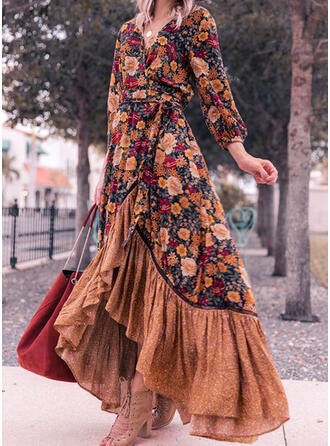 Print/Floral Long Sleeves A-line Asymmetrical Casual Skater Dresses