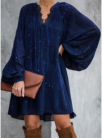 Lace/Print Long Sleeves Shift Above Knee Elegant Tunic Dresses