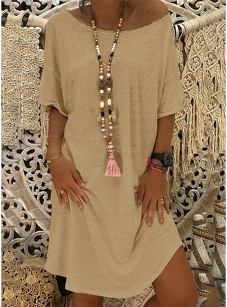 Solid 1/2 Sleeves Shift Knee Length Casual/Vacation Tunic Dresses