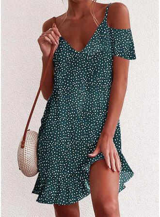 PolkaDot Short Sleeves/Cold Shoulder Sleeve Shift Above Knee Casual/Vacation Dresses