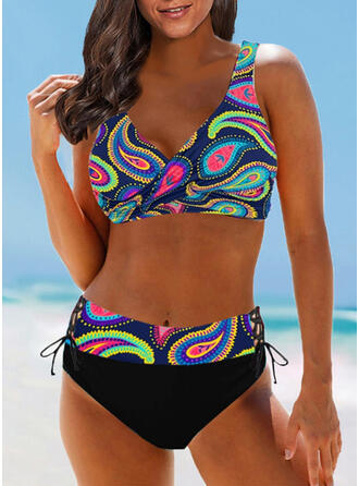 Print Strap V-Neck Boho Bikinis Swimsuits