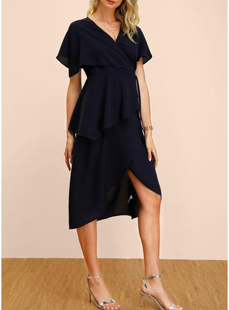 Solid Short Sleeves A-line Casual/Elegant Midi Dresses