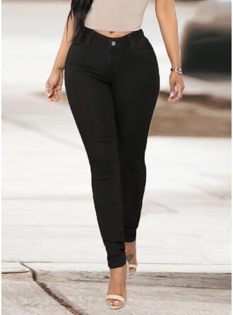 Solid Pockets Plus Size Long Elegant Sexy Denim & Jeans