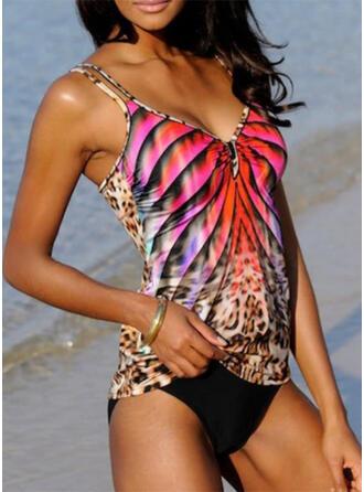Leopard Stripe Strap V-Neck Sexy Boho Tankinis Swimsuits