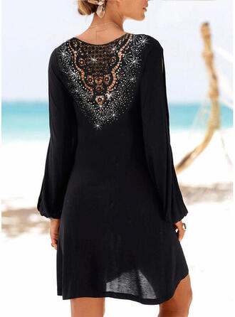 Lace/Sequins/Solid Long Sleeves Shift Above Knee Little Black/Vacation Tunic Dresses