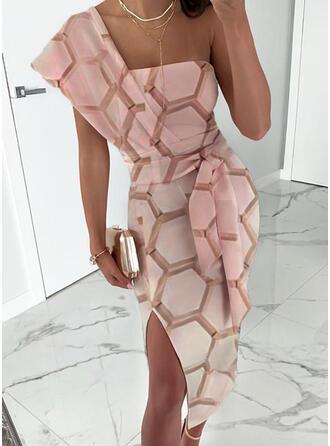 Geometric Print Short Sleeves Sheath Sexy/Party Midi Dresses