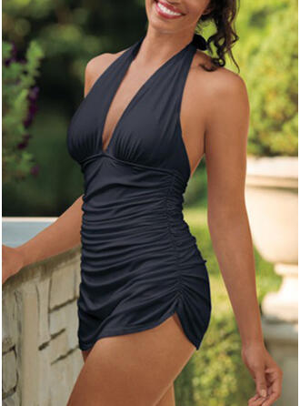 Solid Color V-Neck Strapless Sexy Retro Swimdresses Swimsuits