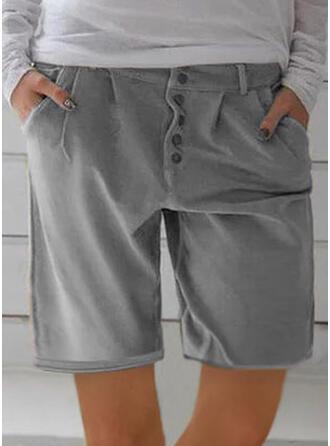 Pockets Shirred Knee-length Casual Sporty Shorts