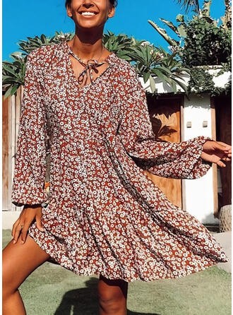Print Long Sleeves Shift Knee Length Casual/Vacation Dresses