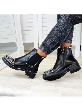 Women's PU Chunky Heel Martin Boots Round Toe With Rivet Zipper Solid Color shoes