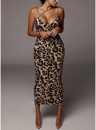 Print/Leopard Sleeveless Bodycon Slip Sexy/Party Midi Dresses