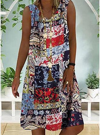 Print/Patchwork Sleeveless Shift Knee Length Boho/Vacation Tank Dresses