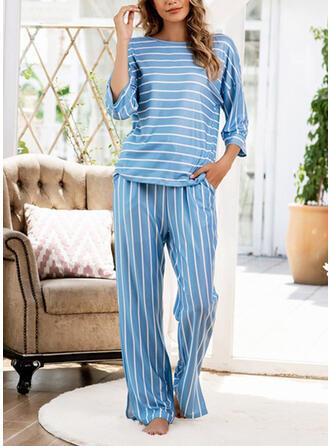 Cotton Blends Striped Plus Size Round Neck Long Sleeves Pyjama Set