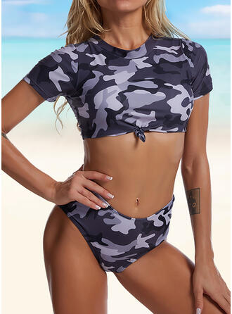 High Waist Print High Neck Fashionable Casual Tankinis Swimsuits
