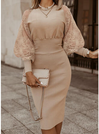 Lace/Solid Long Sleeves/Lantern Sleeve Bodycon Knee Length Elegant Sweater/Pencil Dresses