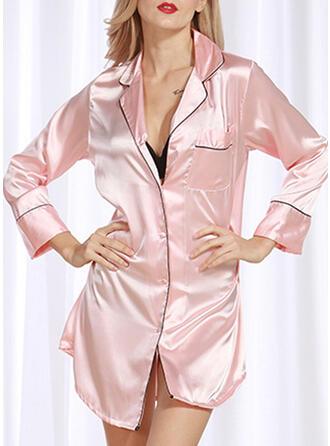 Polyester Plain Long Sleeves Sexy Alluring Pyjama Set