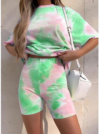 Polyester Cotton Print Round Neck Sexy 1/2 Sleeves Pyjama Set