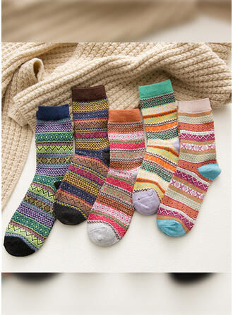 Striped/Bohemia/Colorful Warm/Breathable/Comfortable/Crew Socks Socks (Set of 5 pairs)