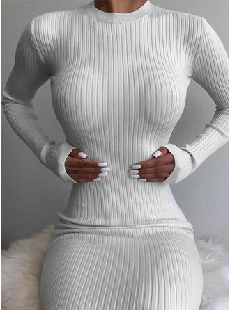 Solid Long Sleeves Bodycon Sexy/Casual Midi Dresses