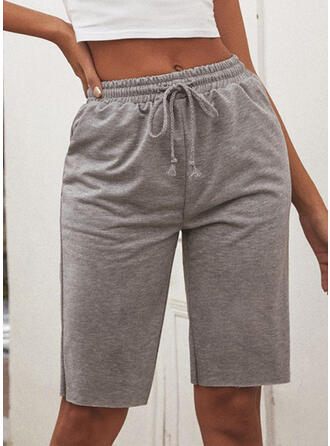 Solid Shirred Knee-length Casual Sporty Plain Pants