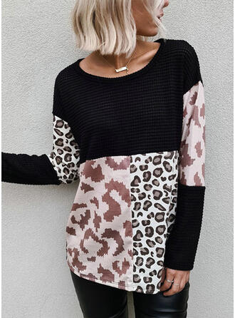 Color Block Animal Print Round Neck Sweaters