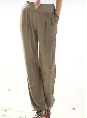 Solid Patchwork Pockets Shirred Long Casual Plain Pants