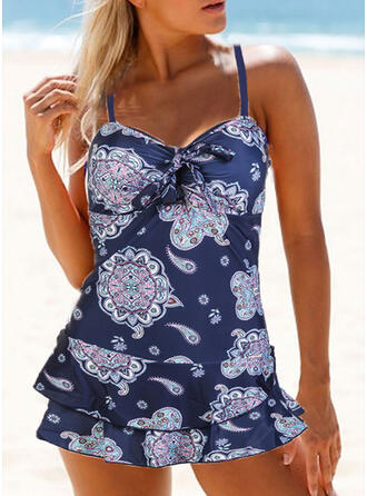 Floral Print Strap V-Neck Vintage Plus Size Swimdresses Swimsuits
