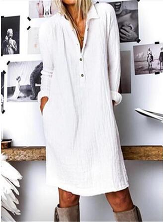 Solid Long Sleeves Shift Knee Length Casual Shirt Dresses