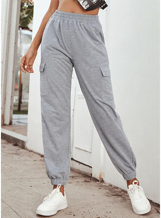Pockets Shirred Long Casual Solid Sporty Plain Pants
