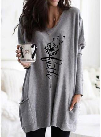 Print Figure Dandelion Round Neck Long Sleeves Sweatshirt
