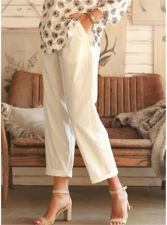 Solid Shirred Plus Size Cropped Casual Plain Pants